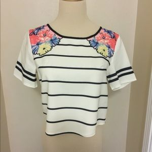 Tops - Black & White Stripe Crop Top with Floral Accents